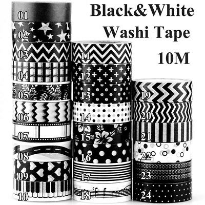 Black and White Set Custom Washi Tape - Black Solid Cross Music line dots 10m