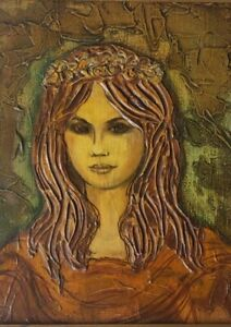1969 Vintage & Signed KAUFMAN Portrait of a Woman Mixed Media Art Painting