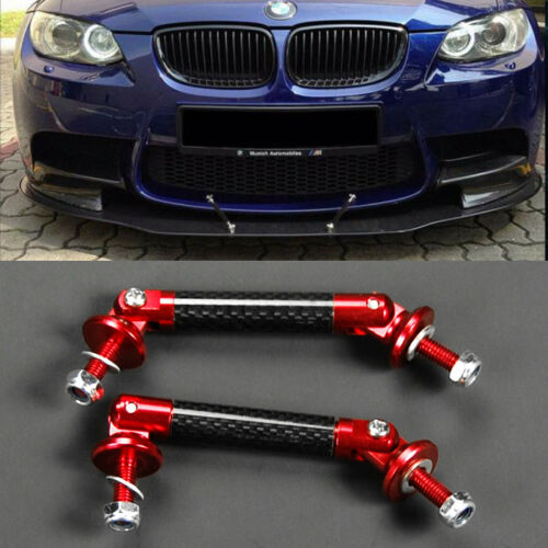 Red w// Carbon Strut Bar Support Rod For Mercedes Splitter Diffuser Spoiler Lip