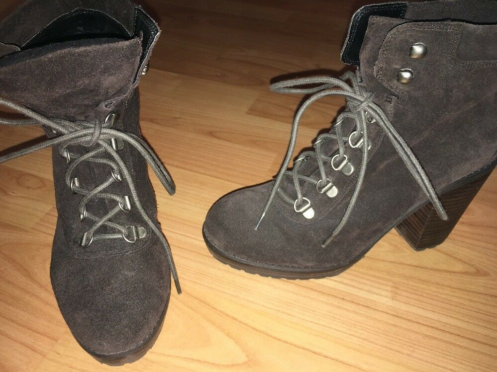 WORN 1X DOLCE VITA DV BROWN SUEDE LACE UP ANKLE 1/2 IN PLATFORM ANKLE BOOTS 7