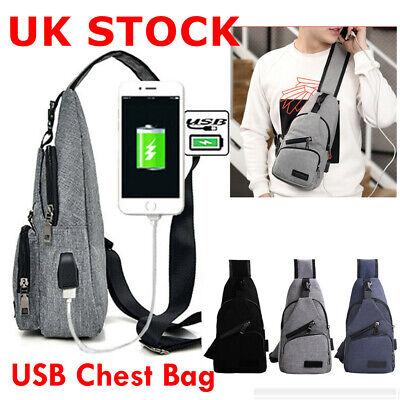 Men Canvas Sling Bag Chest Crossbody Messenger Shoulder Travel Sports School Bag