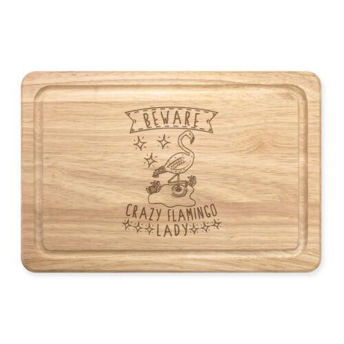 Méfiez-vous fou Flamingo Dame rectangulaire en bois à découper Board-Drôle