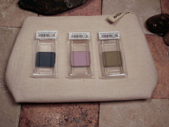 Aveda Eye Color Shadow Set New  Lilac, Cerulean Bloom & Green Tuberose + Bag New