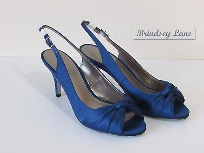 Nuevo Satén de Jacques Vert Azul oscuro zapatos de detalle de nudo ~ tamaño 7 (40) RRP £ 99 adicionales