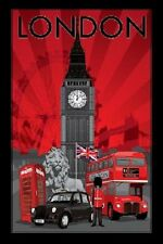 "London UK England Brittain photography poster 24x36"" City Landmarks Big Ben Bus"
