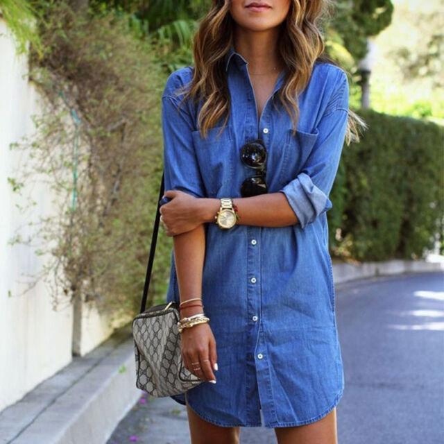 Womens Denim Jeans Button Pocket Long Sleeve Mini Dress Long Tops Blouses Shirts