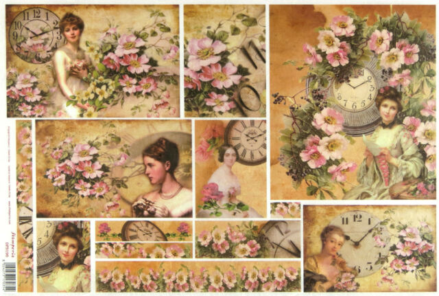 Rice Paper -Clock around Faces and Flowers- for Decoupage Craft