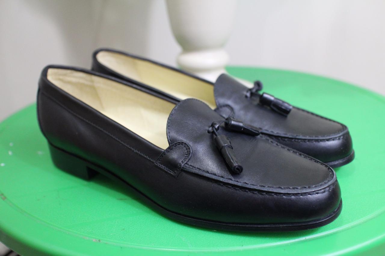 Nwob Baronessa Franchetti Franchetti Franchetti BOND  black tassel loafer shoes size 39.5 (taco600) 699d7d