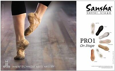 Sansha No1 Pro Color Negro Lienzo SPLIT Suela Zapato De Ballet Prof Adulto pro1c