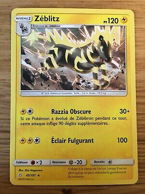 Carte Pokemon ZEBLITZ 45//181 RARE Soleil et Lune 9 SL9 Duo de Choc FR NEUF