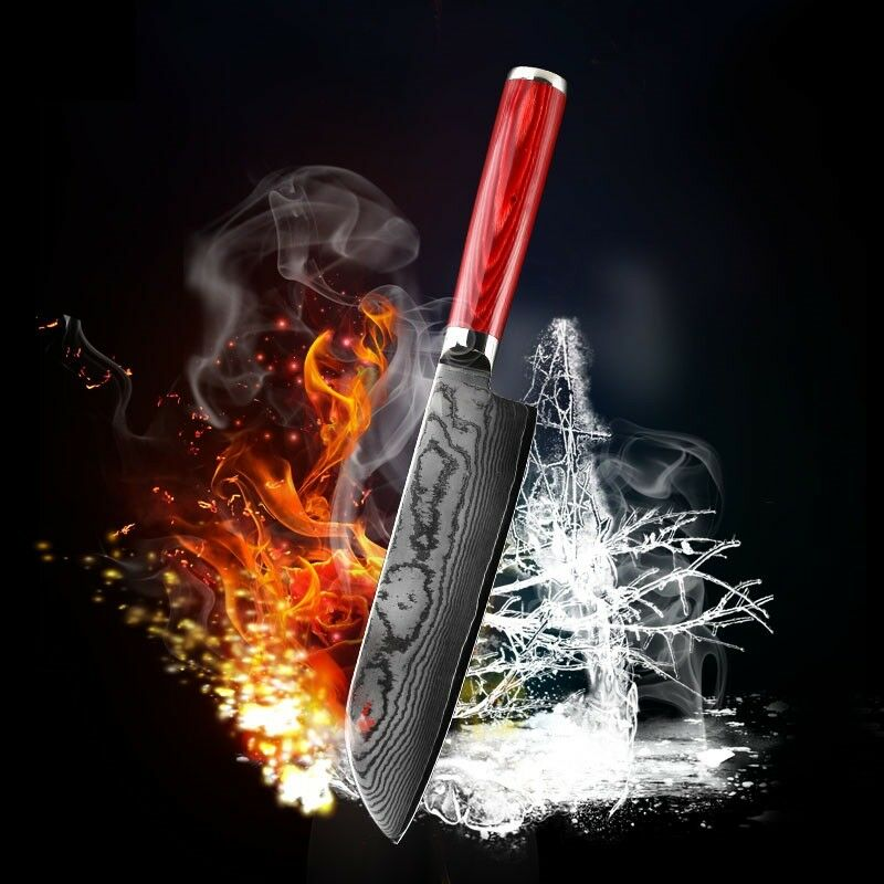 7  Inch Chef Knife Damascus Steel Slicing Fruit Sushi Cook Fish Pilling Meat 7