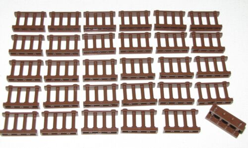 LEGO LOT OF 30 NEW REDDISH BROWN SPINDLED FENCES 1 X 4 X 2 WITH 2 STUDS ON TOP