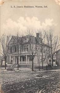 E51-Warren-Indiana-Postcard-c1910-L-S-Jone-039-s-Residence-Home