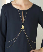 Silver Gold Beach Sexy Bikini Crossover Harness Waist Belly Body Chain Necklace