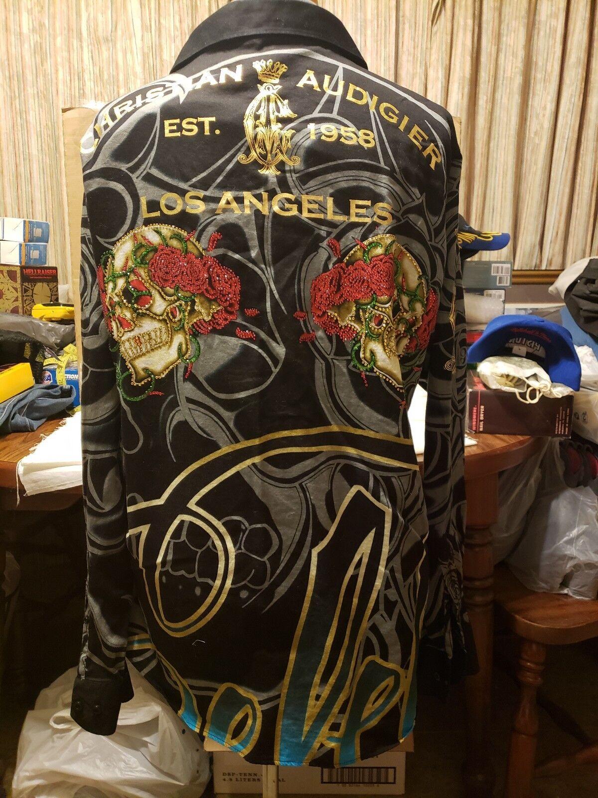 Christian Audigier XL Long Sleeve Dress Shirt Skulls pinks Free Ship Los Angeles