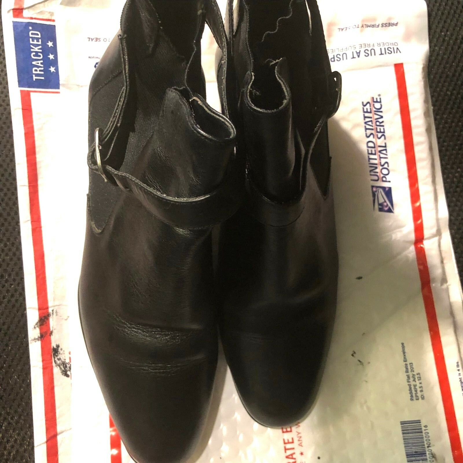 Boots, ankle, NATURALIZER, black leather, round toe, 1 1/2