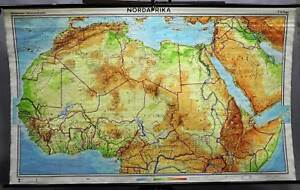 Map Of Africa Physical.Details About Rollable School Wall Chart Poster Geography Map North Africa Physical View