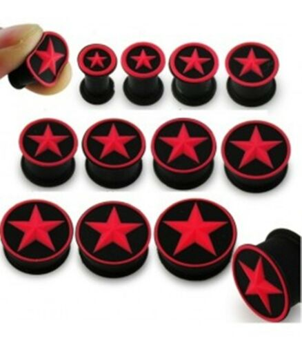 PAIR-Flexi Star Red on Black Double Flare Silicone Ear Plugs 08mm//0 Gauge Body J