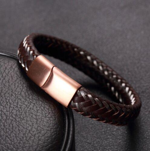 Pulsera de cuero para hombre de acero inoxidable Steck cierre marrón cobre plata colores