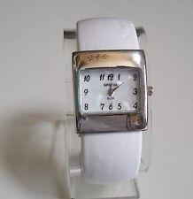 Designer Style White Color Leather/Silver Trim Bangle Quartz Wrist Fashion Watch