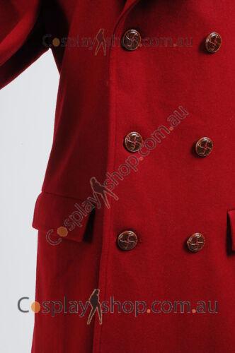 Dark Red Long Trench Wool Coat Costume