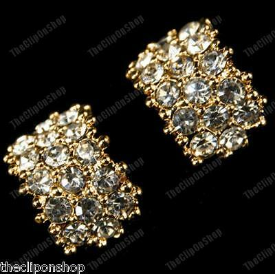 CLIP ON big huggie CRYSTAL EARRINGS rhinestone SILVER/GOLD PLATED diamante clips