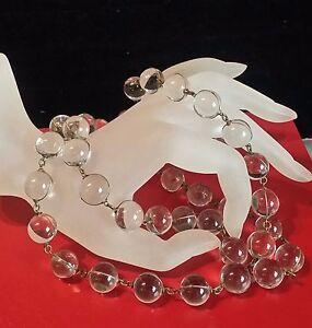 DECO-Period-1930s-POOLS-OF-LIGHT-ROCK-CRYSTAL-QUARTZ-50-Orbs-NECKLACE-40-034-long