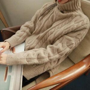 Women-Cashmere-Turtleneck-Twist-Winter-Warm-Sweater-Jumper-Pullover-Coat
