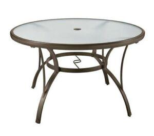 "Round Table Patio Dining 40"" Set Glass Outdoor Deck Garden ..."
