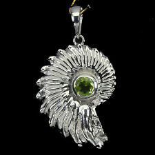 Sterling Silver 925 Ammonite Design Set with Genuine Round Peridot Gem Pendant