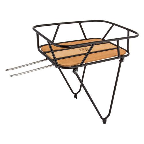 """Minoura Gamoh KCL-1R King Carrier Rear Basket Black Wood Platform 26/"""" 700c"""