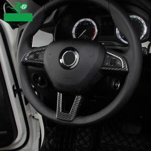 ABS-Carbon-Look-Lenkrad-Blenden-Rahmen-Abdeckung-fuer-Skoda-Kodiaq-Karoq-ab-2017