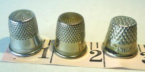 Thimble Lot of 3 Dimpled Vintage sewing seamstress collectibles