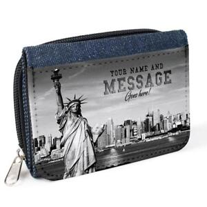 Image Is Loading Personalised Ladies Purse NYC NEW YORK Denim Coin