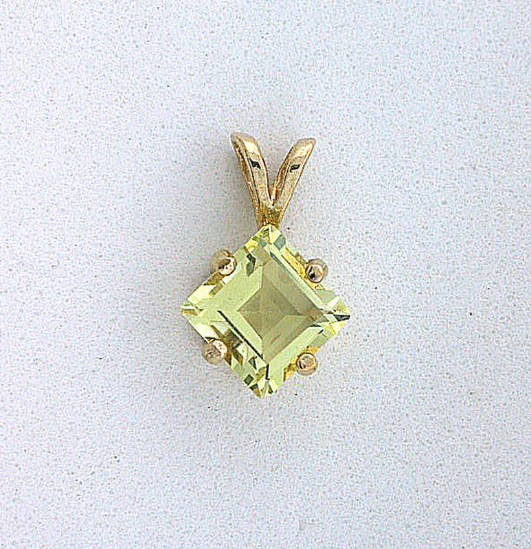 14Kt gold 7mm Natural Brazilian Square Citrine Gem Stone Gem Stone Pendant EBS91