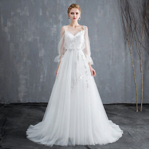 Wedding-Dresses-2019-V-Neck-long-Sleeve-Appliques-Princess-Bridal-Gowns-Dresses