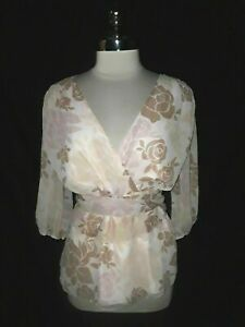 NEW-DAISY-FUENTES-Plus-Size-1X-Blouse-Shirt-Top-Pink-Brown-Floral-3-4th-Sleeve