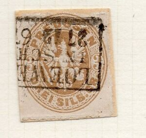 Prussia-1863-Early-Issue-Fine-Used-3pf-Postmark-Piece-016031