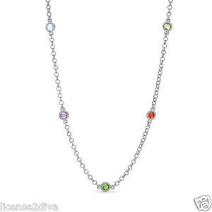 Plata-de-Ley-Multi-Gemstone-Estacion-por-Yardas-Collar-Robusto-Original-Gemas