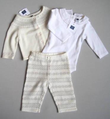 NEW Janie and Jack Girls 3 6 Mo WINTER FAWN Fair Isle Sweater Pants & Shirt Set