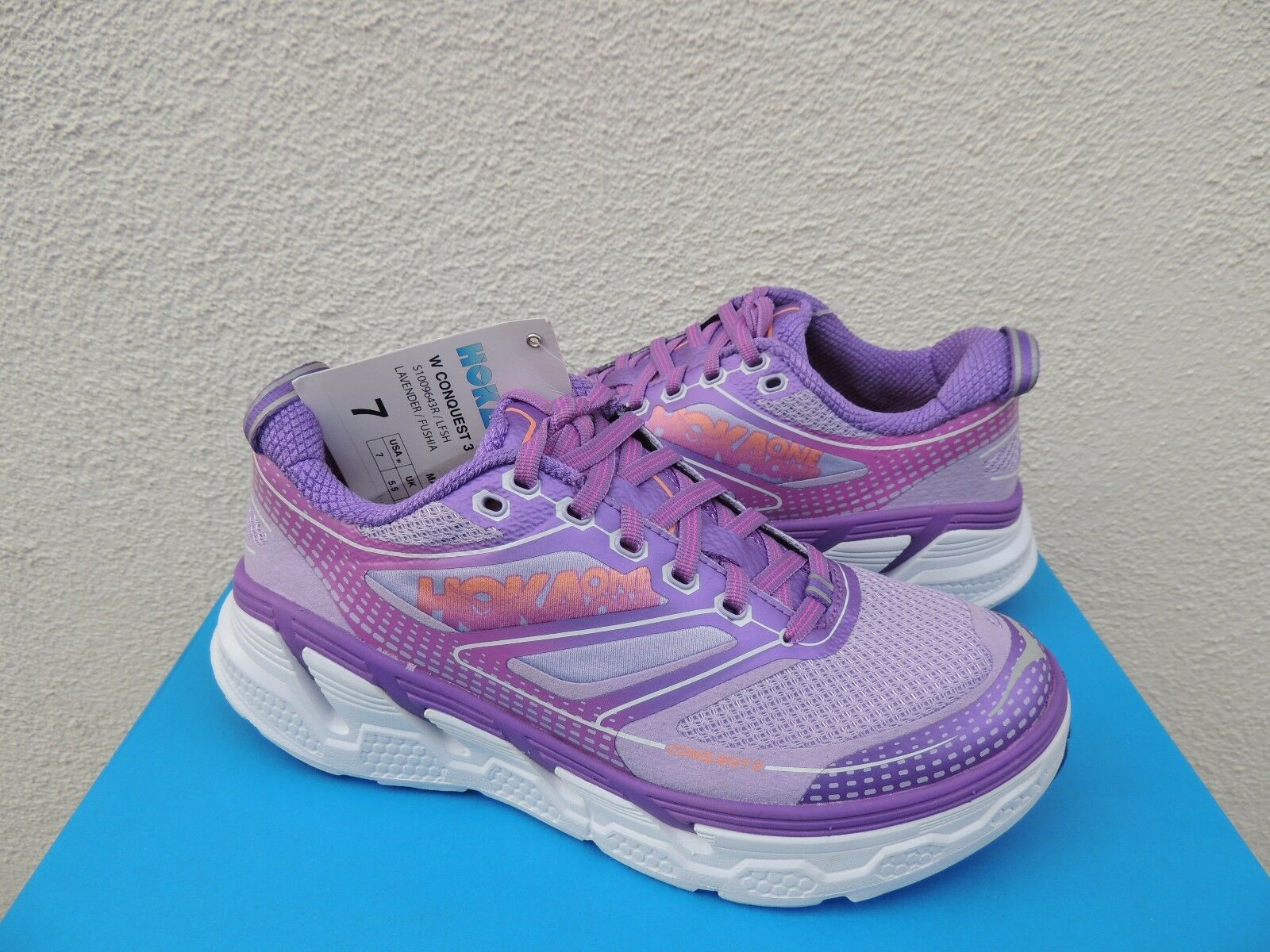 HOKA ONE ONE CONQUEST 3 LAVENDER  FUCHSIA RUNNING SHOES, US 7  EUR 38 2 3   NWT