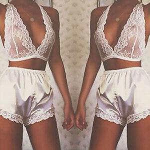 grande-taille-XL-femme-Pyjama-ensemble-sexy-lingerie-licou-lacets
