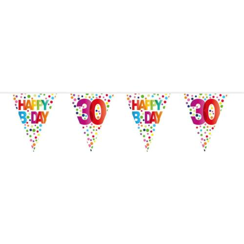 Geburtstag /& Party Zahl 30 FOLAT 27130 Wimpelkette Bunte Punkte