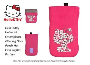 Hello-Kitty-Universal-Smartphone-Cleaning-Sock-Pouch-Hot-Pink-Apples-Pattern