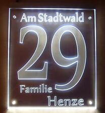LED beleuchtete Design Hausnummer ,Graviertes Acrylglas, Modell G 04