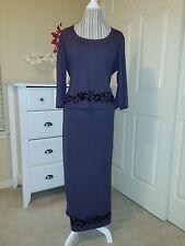 FASHION BUG Formal Suit 2 Pc Maxi Skirt & Top Gray Floral Details Stretch  Sz. L