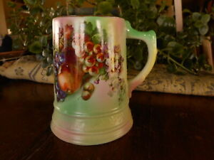 """Fruit Tall Mug Antique Hand Painted Vintage repurpose as vase ? Green Pin 4.5"""""""