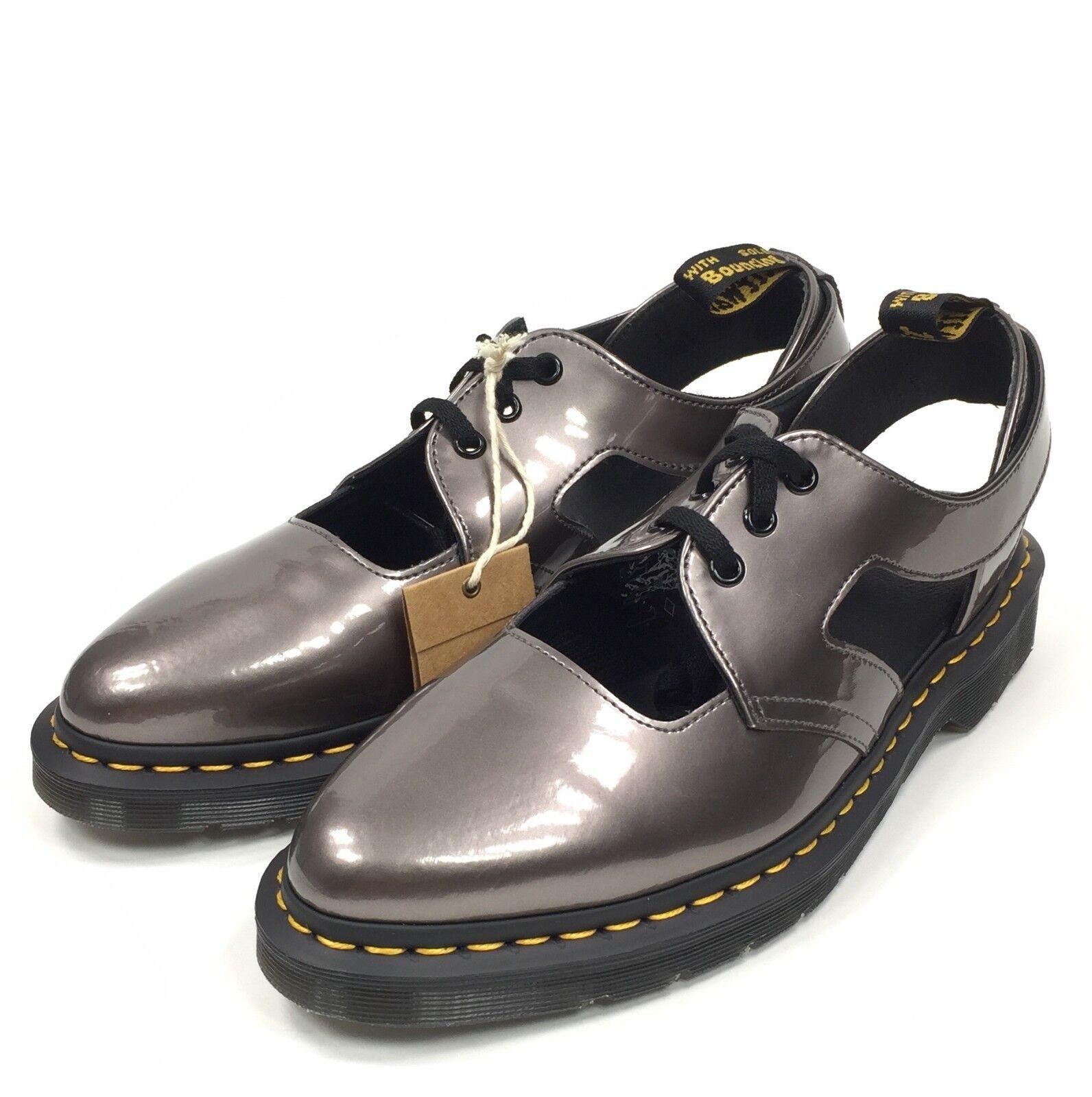 Dr Doc Martens Genna Größe 11 damen Patent Leather Leather Leather Metallic Cutout Oxford schuhe 49738f