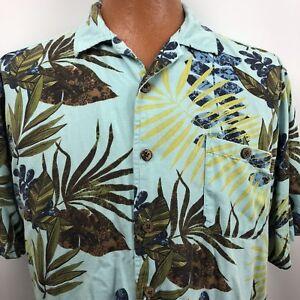 Joe-Marlin-Hawaiian-Aloha-Shirt-Size-XL-Palm-Leaves-Teal-Turquoise-Blue-Green