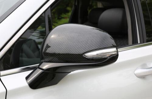 Carbon Fiber Look Rearview Side Mirror Cover 2pcs For Hyundai Santa Fe TM 2019